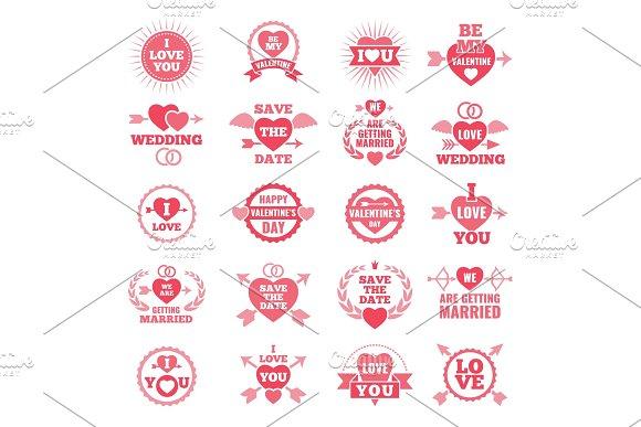 Love Symbols For Wedding Day Monochrome Badges