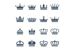 Black crowns. Symbols for luxury logos and badges