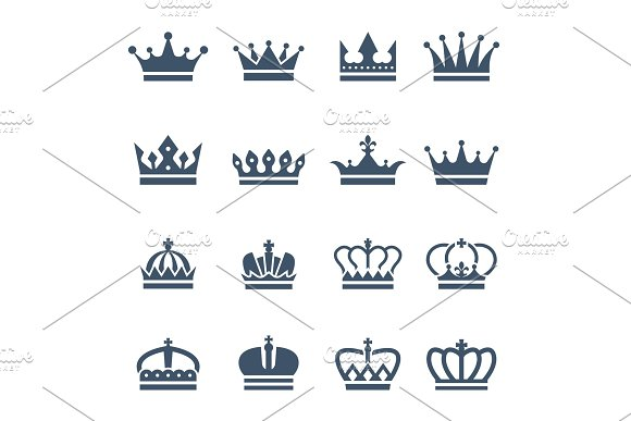 Black Crowns Symbols For Luxury Logos And Badges