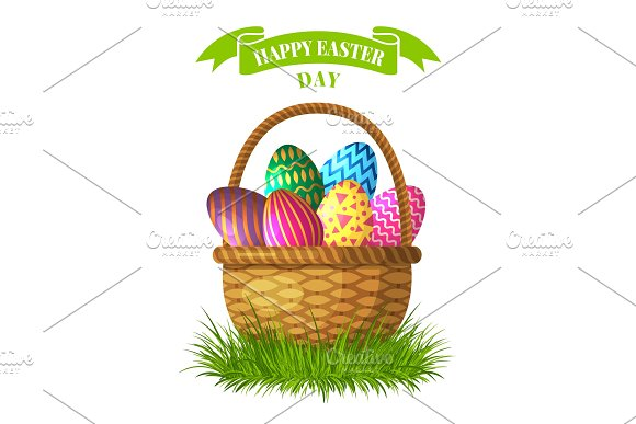 Easter Concept Illustration Basket With Colored Eggs