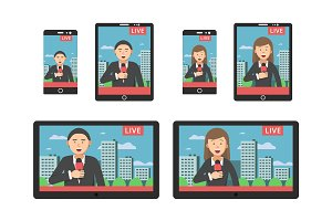 News on screen at different digital devices smartphones and tablets