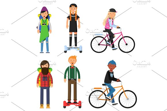 Hipsters Make A Trip Bicycles Riders Vector Characters Set