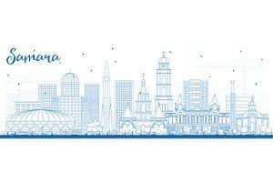 Outline Samara Russia City Skyline