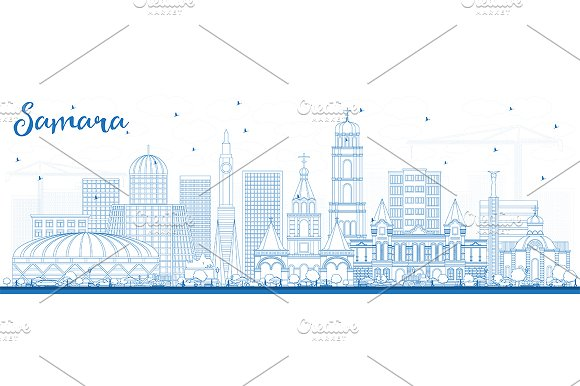 Outline Samara Russia City Skyline