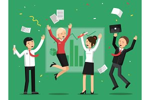 Business people celebrating success from big deal