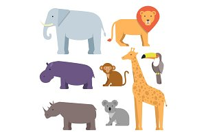 Wild animals in flat style. Vector pictures collection