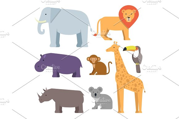 Wild Animals In Flat Style Vector Pictures Collection