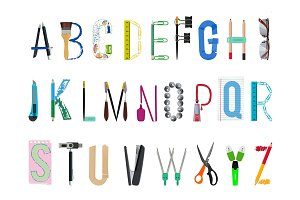 English alphabet from office supplies