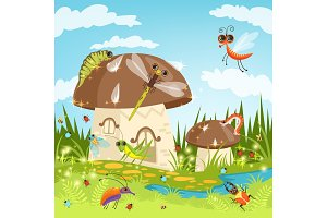 Fairytale landscape with funny insects