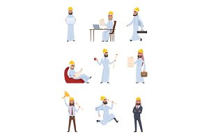 Arabic builders. Characters set isolate on white background