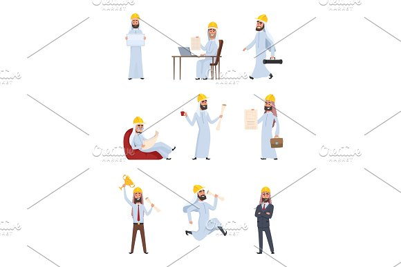 Arabic Builders Characters Set Isolate On White Background