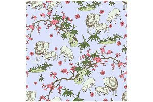 Sheep and Peach Blossom Pattern