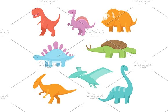 Cartoon Set Of Funny Dinosaurs Vector Pictures Of Prehistoric Period