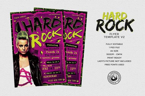 Hard Rock Flyer Template V2 Flyer Templates Creative Market