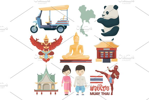 Vector Illustrations Of Traditional Landmarks Of Thailand With Muay Thai Text