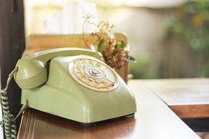 still life old green telephone