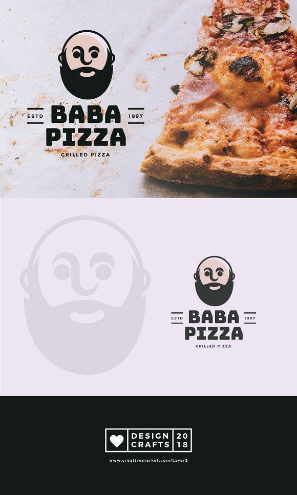 Baba Pizza Mascot Logo