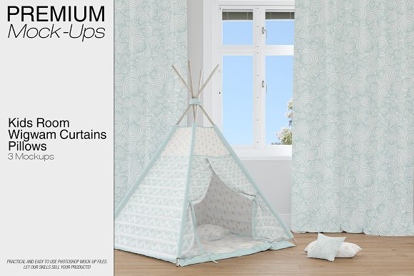 Kids Room Teepee Curtains Pillows