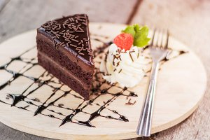 Tasty chocolate cake with berries