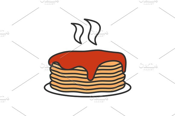 Fresh Pancakes Stack With Jam Or Honey Color Icon