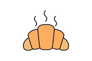 Fresh croissant color icon