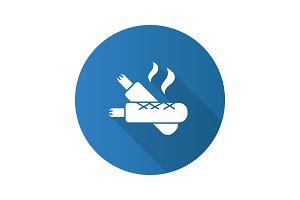 French hot dogs flat design long shadow glyph icon