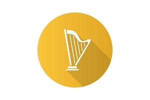 Harp flat design long shadow glyph icon