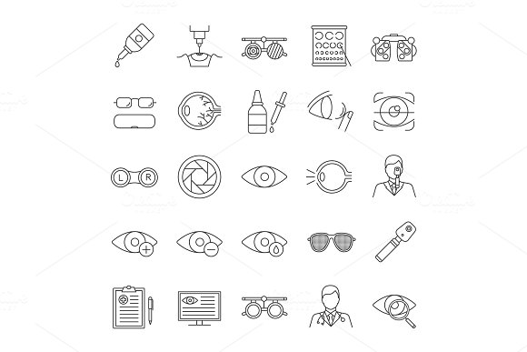 Ophtalmology Linear Icons Set
