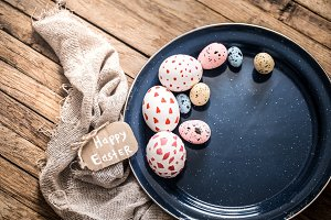 Easter eggs on a plate
