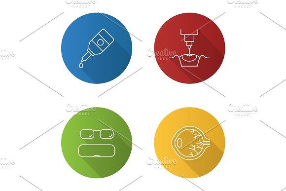 Ophtalmology Flat Linear Long Shadow Icons Set