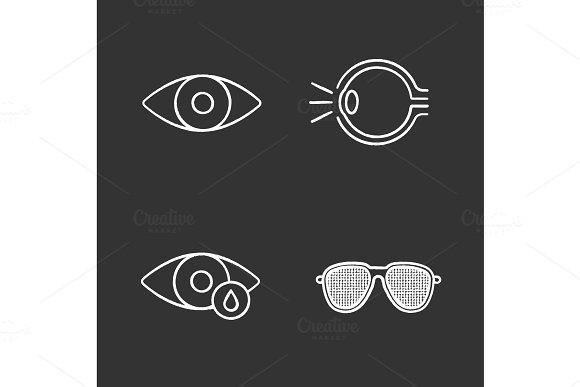 Ophtalmology Chalk Icons Set