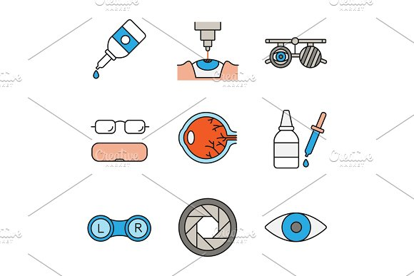 Ophtalmology Color Icons Set