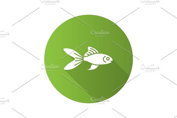 Aquarium Goldfish Flat Design Long Shadow Glyph Icon