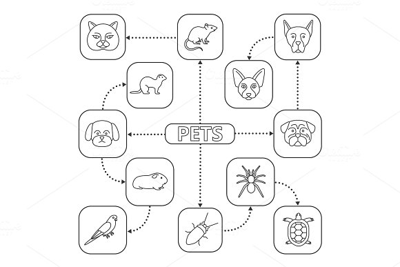 Pets Mind Map With Linear Icons