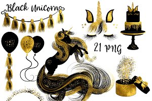 Black & Gold Unicorn Clipart