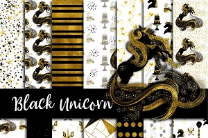 Black & Gold Unicorn Paper Pack