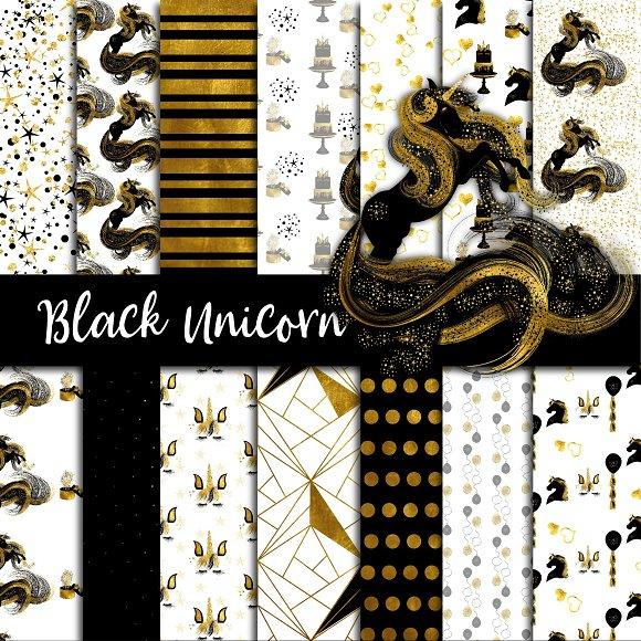Black Gold Unicorn Paper Pack