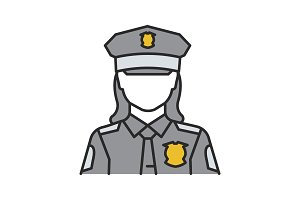 Policewoman color icon