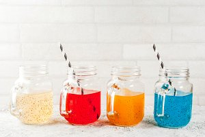 Set of different chia seed drinks