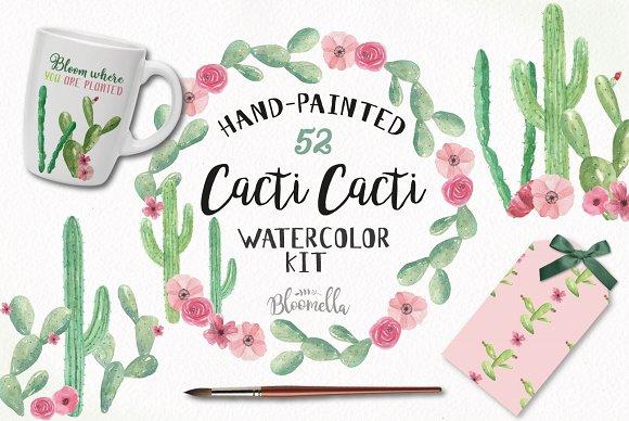 Cacti Cactus Watercolor Clipart Kit