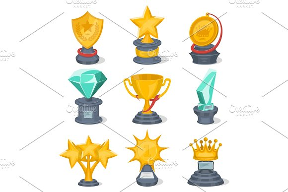 Beautiful Golden Trophy Cups And Awards