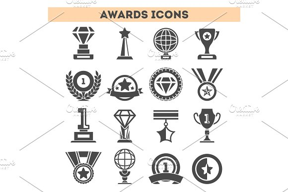 Champion Awards Of Different Shape Icons Set