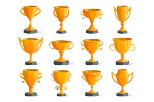 Golden champion cups isolated badge set