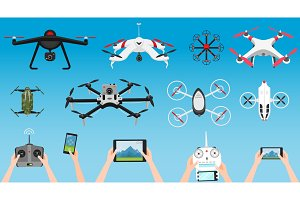 Set of modern air drones and remote control. Science and Modern technologies. Vector illustration. Radio robot or airplane with a camera in the air. Innovative systems and developments.