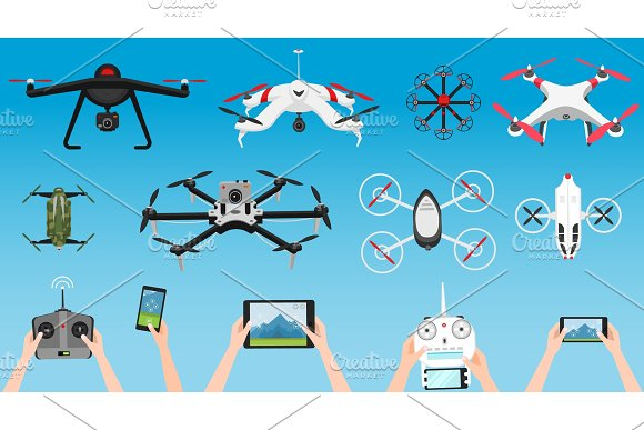 Set Of Modern Air Drones And Remote Control Science And Modern Technologies Vector Illustration Radio Robot Or Airplane With A Camera In The Air Innovative Systems And Developments