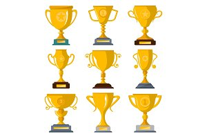 Golden champion trophies isolated badge set