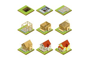 Stages of house construction isometric 3D set
