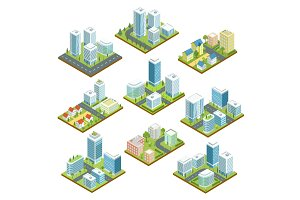 Modern downtown isometric 3D set