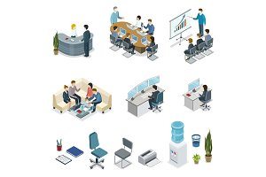 Corporate office life isometric 3D set