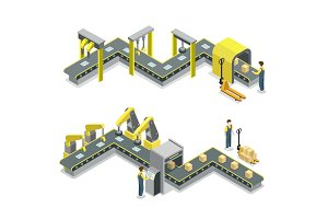 Production line isometric 3D concept set